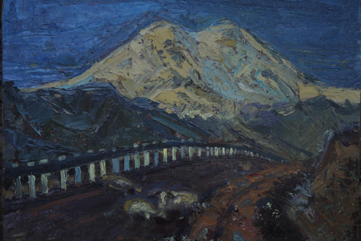 """""""Дорога к Эльбрусу"""" холст, масло, 2014 год"""